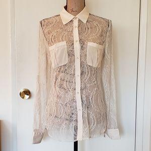 bebe lace button down blouse